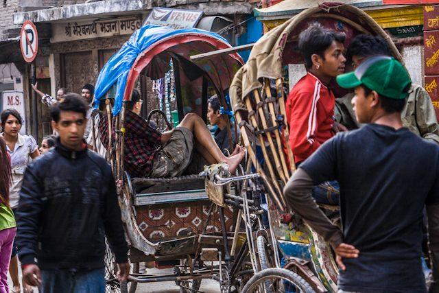 Nepal Katmandu Calles Rickshaws