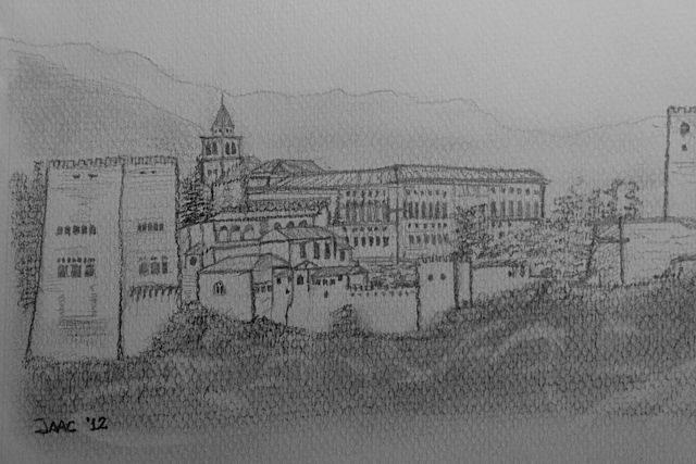 Granada-DibujoAlhambraDetalle Mirador San Nicolás