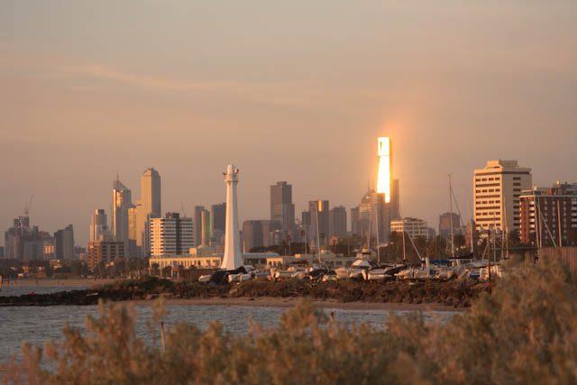 Australia-Melbourne Rascacielos Puesta Sol