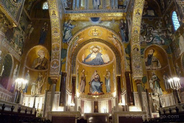 Italia Sicilia Palermo Cappella Palatina Interior Abside