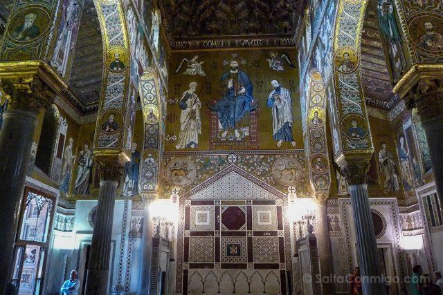 Italia Sicilia Palermo Cappella Palatina Interior Contrafachada