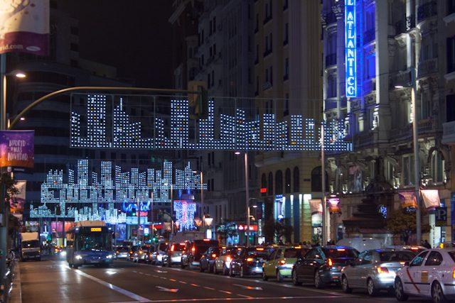 Madrid Rascacielos Gran Vía Iluminación Navidad