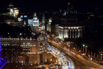 Madrid Vista CentroCentro Noche Iluminación Navidad