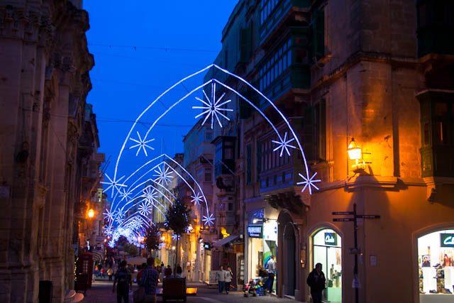 Malta Valeta Luces Navidad