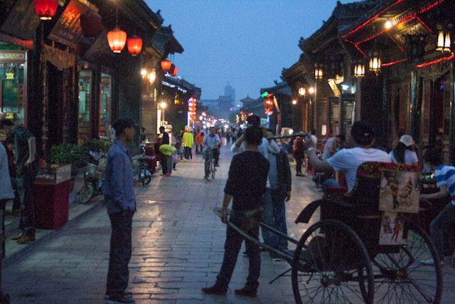 China Pingyao Calles Noche