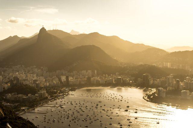 Rio de Janeiro Puesta Sol Bahia Desde Pan Azucar