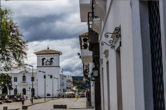 Popayan Calle Fachada Blanca Torre Reloj