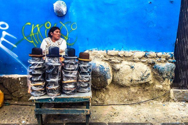 La Paz Cholita Mercado Callejero Sombreros