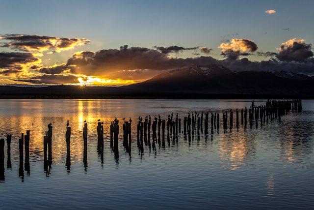 Chile Puerto Natales Muelle Puesta de Sol