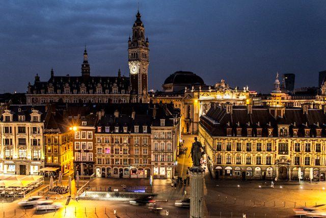Norte de Francia Grand Place Lille Nocturna