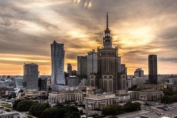 Polonia Varsovia Palacio de la Cultura y la Ciencia Puesta Sol
