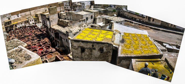 Marruecos Fez Medina Curtidores Chouwara Panorama