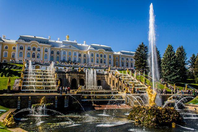 Rusia Peterhof Fuente Principal Sanson