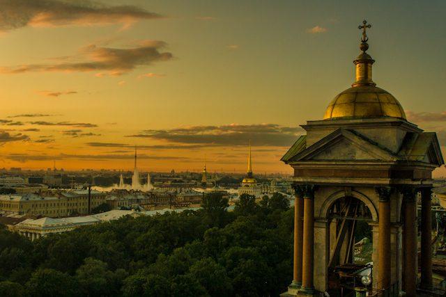 Rusia San Petersburgo Panorama Catedral Puesta Sol