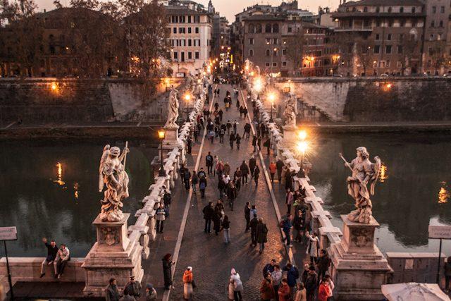 Roma Puente Sant Angelo Noche