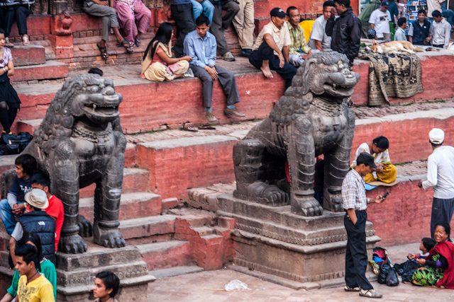 Nepal Plaza Durbar Katmandu Gente