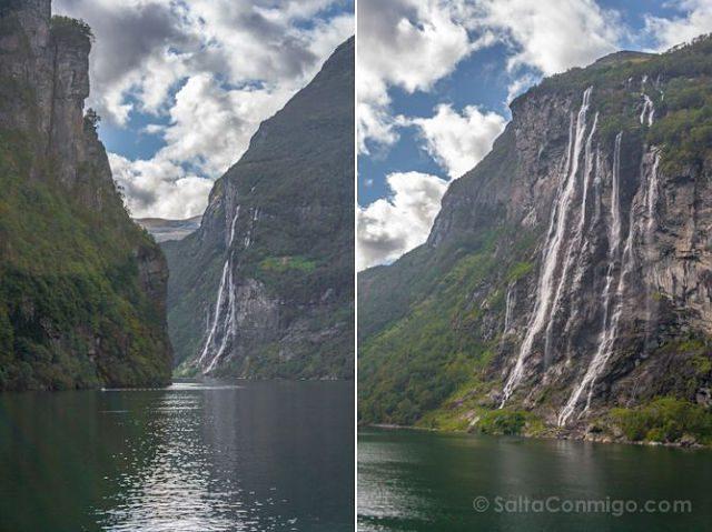 Noruega Geirangerfjord Cascadas Mosaico