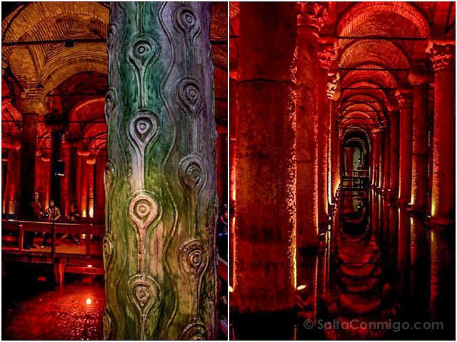 Turquia Estambul Cisterna Columnas Mosaico