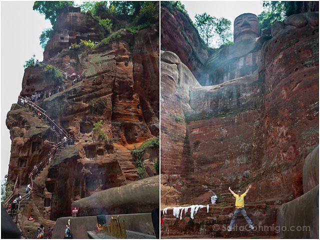 China Leshan Gran Buda Escalera Salto