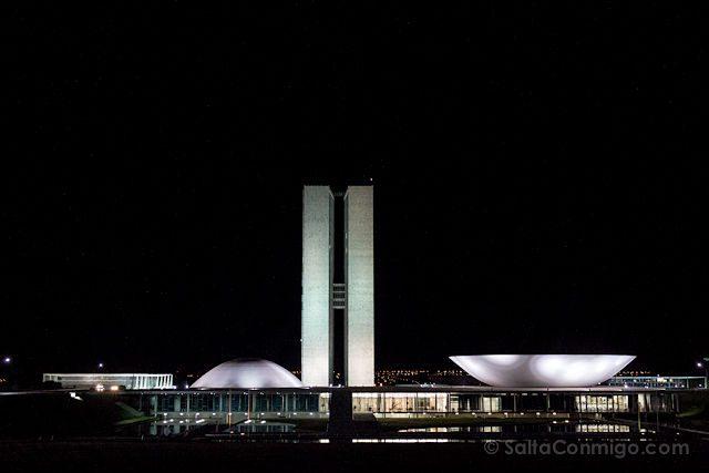 Brasil Brasilia Congreso Nacional Nocturna
