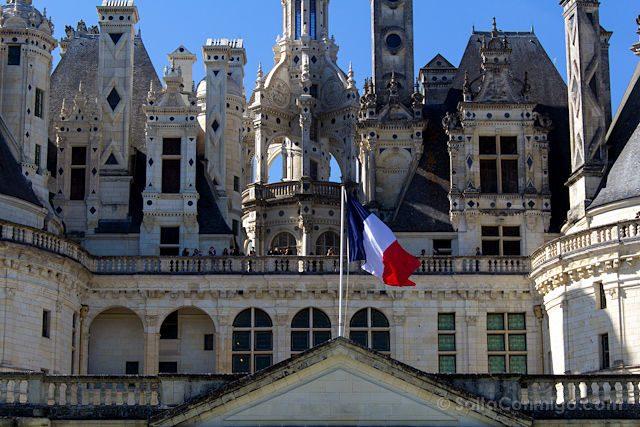 Francia Valle Loira Castillo Chambord Fachada Bandera