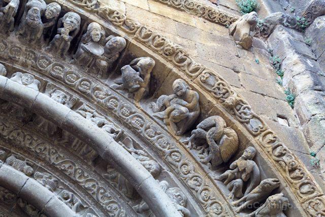 Aragon Uncastillo Iglesia Santa Maria Portico Detalle