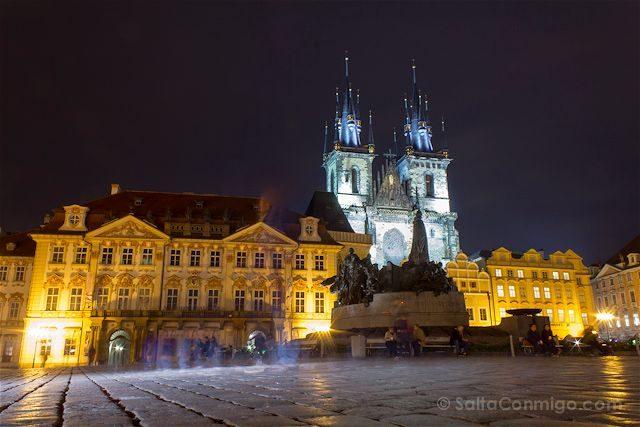 Republica Checa Praga Plaza Ciudad Vieja Nocturna