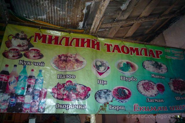 Uzbekistan Samarcanda Restaurante Cartel