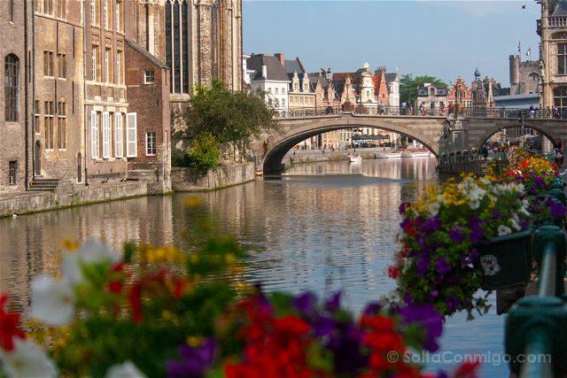 Belgica Flandes Gante Canal Puente