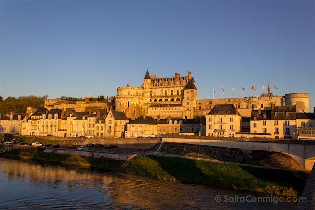 Francia Valle del Loira Castillo de Amboise Puesta Sol