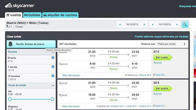 Skyscanner te permite crear una alerta de precio para buscar tu vuelo más barato
