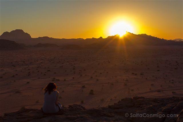 Jordania Desierto Rojo Wadi Rum Puesta Sol