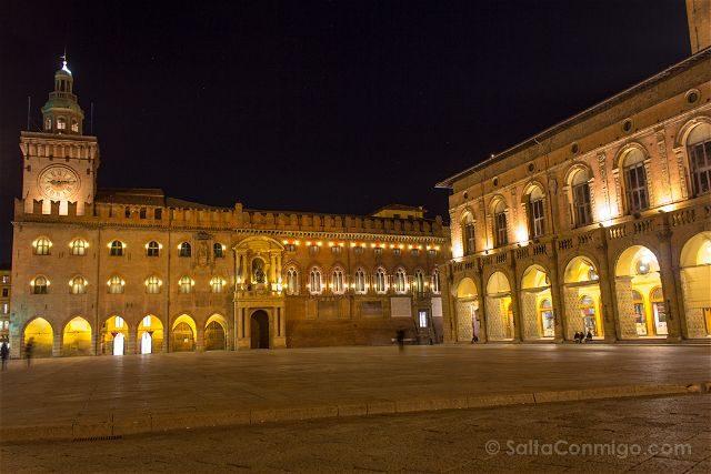 Italia Bologna Bolonia Piazza Maggiore Nocturna