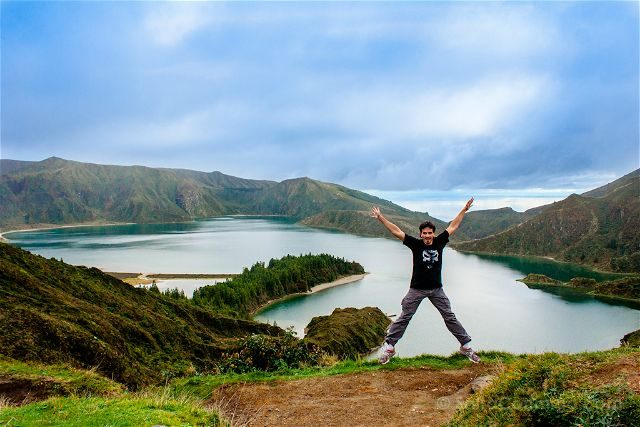Portugal Azores Sao Miguel Ilha Verde Lagoa Fogo Salto