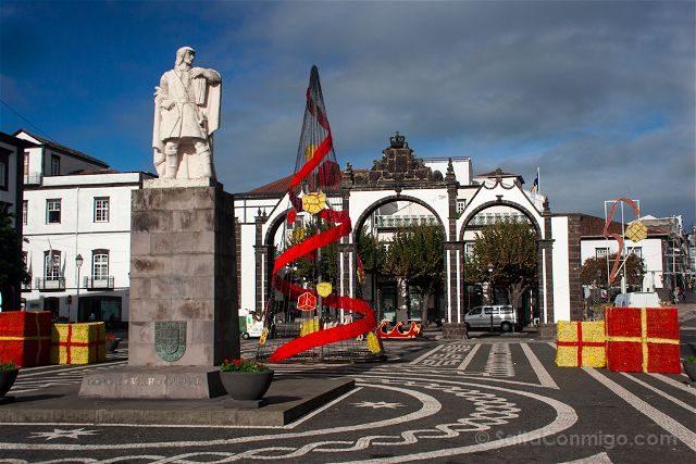 Portugal Azores Sao Miguel Ilha Verde Ponda Delgada Porta Ciudade