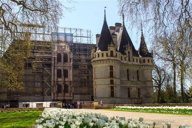Francia Valle Loira Castillo Azay-le-Rideau Completo Jardin Andamio
