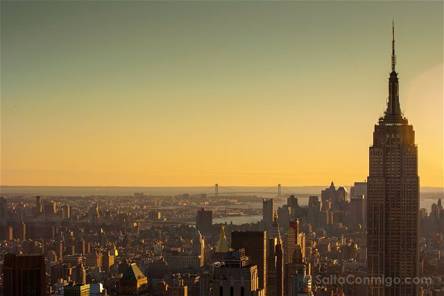 USA Nueva York Top of the Rock Atardecer Empire State