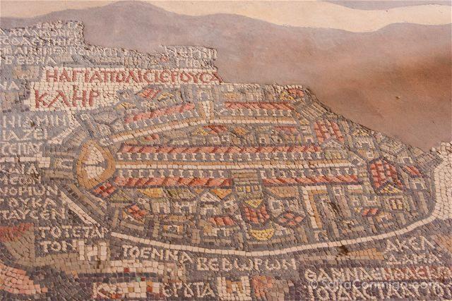 Jordania Madaba Iglesia San Jorge Mapa Mosaico Detalle