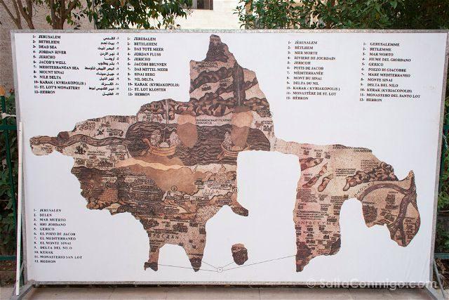 Jordania Madaba Iglesia San Jorge Mapa Mosaico Panel