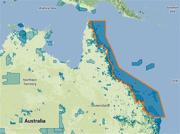 Mapa Gran Barrera de Coral Google Maps