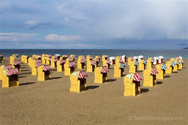 Alemania Travemünde Casetas Playa Strandkorbe