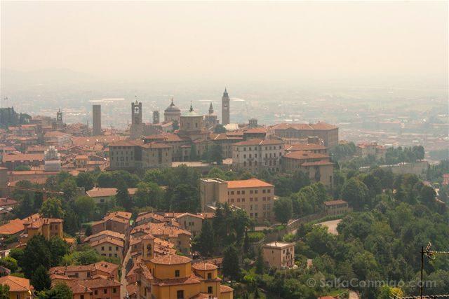 Italia Bergamo Panorama Ciudad Alta Castillo