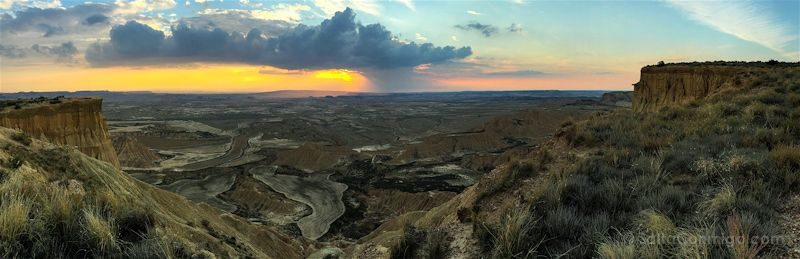 Navarra Ruta Bardenas Reales Puesta Sol Panorama