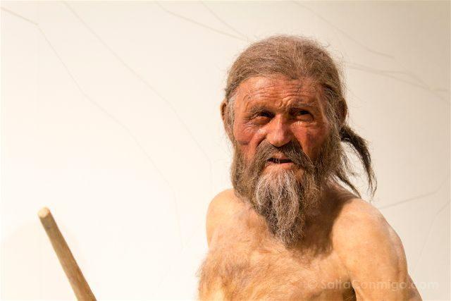 Italia Sudtirol Alto Adige Bolzano Museo Arqueologico Otzi Hombre Hielo Reconstruccion Detalle Cara