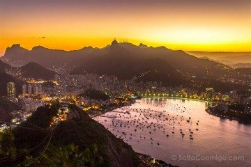 Brasil Rio De Janeiro Miradores Pan de Azucar Noche Botafogo
