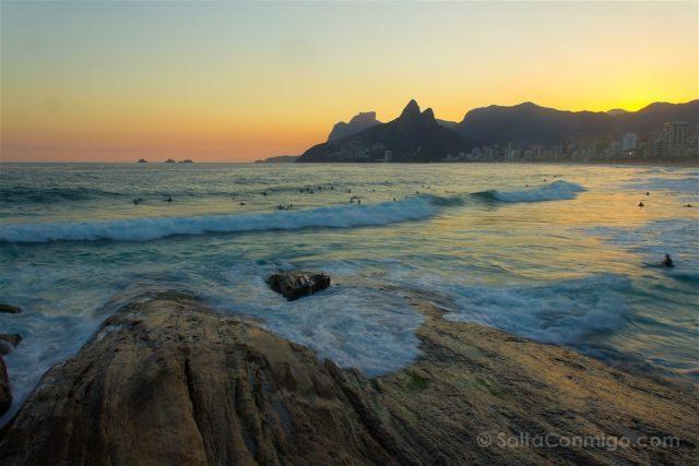 Brasil Rio De Janeiro Playa Ipanema Atardecer Agua