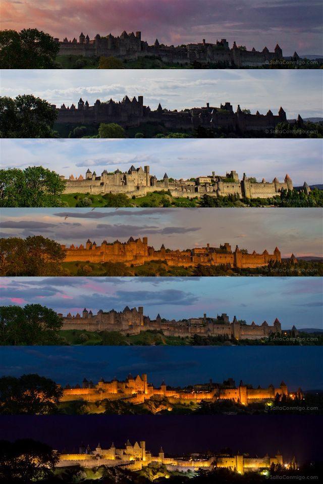 Que ver en Carcasona Carcassonne Ciudadela Medieval Luces Transicion Horas