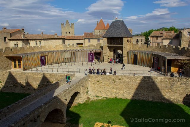 Francia Carcasona Carcassonne Muralla Entrada Defensa Castillo