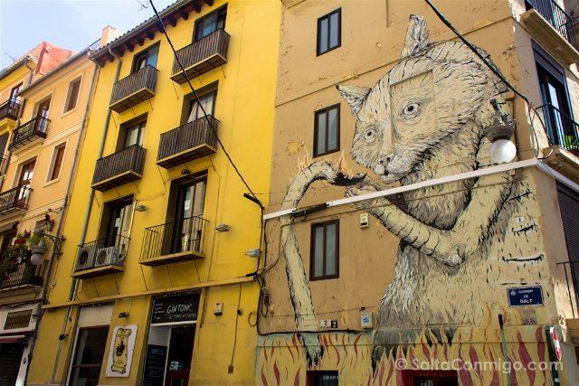 Grafitis Valencia Carrer Datl Gato Llamas
