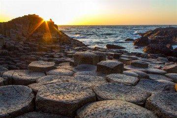 Irlanda del Norte Calzada del Gigante Giants Causeway Columnas Basalto Puesta Sol